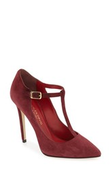 Charles David Women's 'Lara' T Strap Pointy Toe Pump Red Suede