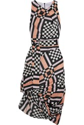 Vivienne Westwood Anglomania Eight Draped Printed Cotton Voile Midi Dress Pink
