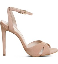 Office Hula Criss Cross Leather Sandals Nude Nubuck
