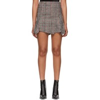 Mcq By Alexander Mcqueen Black And Red Cut Up Check Miniskirt