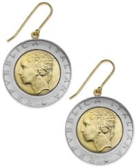 Macy's Vermeil And Sterling Silver Lira Coin Drop Earrings