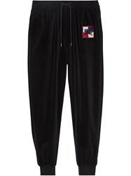 Burberry Chequer Ekd Velour Trackpants Black