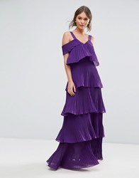 True Decadence Pleated Maxi Dress In Tiers And Cold Shoulder Purple