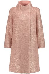 Raoul Metallic Boucle Mohair Blend Coat Pastel Pink