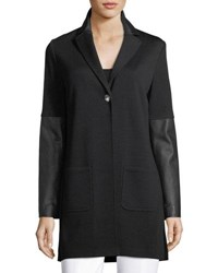 St. John Milano Knit Jacket With Leather Cuffs Black