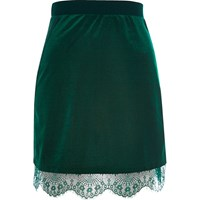 River Island Womens Dark Green Velvet Lace Trim Mini Skirt