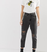 Noisy May Petite Distressed Mom Jean Black