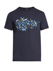 Fendi Floral Motif Cotton Jersey T Shirt Navy