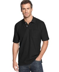 John Ashford Short Sleeve Pocket Pique Polo Shirt Deep Black