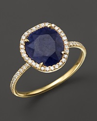 Meira T 14K Yellow Gold Blue Sapphire Ring With Diamonds .20 Ct. T.W. Yellow Bue