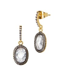 Freida Rothman Tiny Raindrop Cz Stones Earrings Black Gold