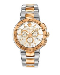 Versace 44Mm Mystique Sport Chronograph Rose Golden Silver