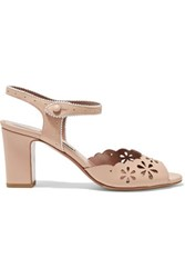 Tabitha Simmons Emily Perforated And Laser Cut Leather Sandals Beige