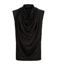 Balmain Cowl Neck Linen T Shirt Male Black