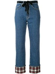 Isa Arfen Contrast Turn Up Jeans Blue