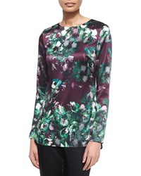 St. John Woodland Floral Print Stretch Silk Tunic Mulberry Mlt