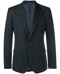 Dolce And Gabbana Tailored Virgin Wool Jacket Navy White Denim