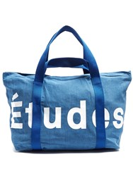 Etudes May City Logo Print Cotton Pique Tote Blue