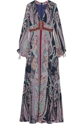 Etro Embellished Paisley Print Silk Maxi Dress Purple