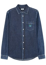 Kenzo Blue Embroidered Denim Shirt