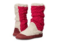 Acorn Slouch Boot Red Cable Knit Women's Slippers