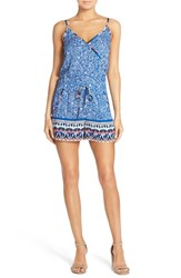 Women's French Connection Print Surplice Romper Electric Blue