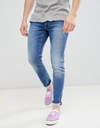 Solid Stretch Slim Jean With Crinkle Effect In Blue