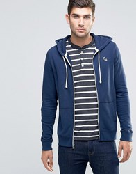 Abercrombie And Fitch Zip Through Hoodie Lightweight Terry Navy In Muscle Slim Fit Navy