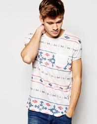 Asos T Shirt With Aztec Stripe And Relaxed Skater Fit White