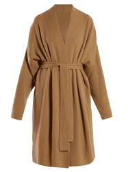 Gabriela Hearst Andres Cashmere And Silk Blend Wrap Cardigan Camel