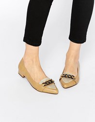 Ravel Chain Point Flat Shoes Beige