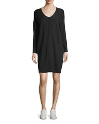 Atm Anthony Thomas Melillo Flame Jersey V Neck Shift Dress Dark Gray