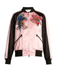 Valentino Tropical Dream Applique Silk Satin Bomber Jacket Pink Multi