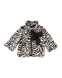 Catimini Zebra Print Faux Fur Coat Black White Size 3 6
