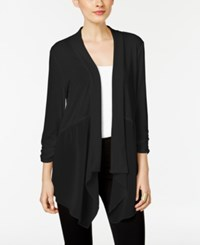 Ny Collection Chiffon Detail Open Front Cardigan Jet Black
