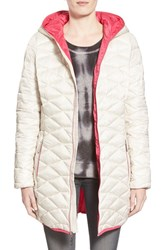 Women's Betsey Johnson Packable Contrast Zip Quilted Hooded Coat Sugar