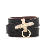 Givenchy 3 Row Obsedia Leather Bracelet Black
