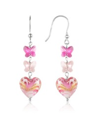 House Of Murano Mare Pink Murano Glass Heart Drop Earrings