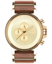 Vestal Men's Chronograph Genuine Wood And Gold Tone Stainless Steel Bracelet Watch 49Mm Plwcm002
