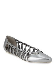Tod's Point Toe Cutout Leather Ballet Flats Silver