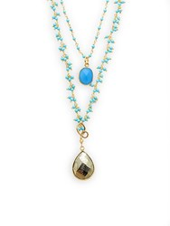 Alanna Bess Turquoise And Chalcedony Layered Necklace