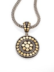 John Hardy Dot 18K Yellow Gold And Steling Silver Small Round Pendant