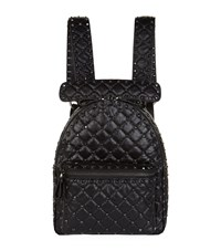 Valentino Garavani Crinkled Leather Rockstud Backpack Black
