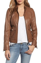 Lamarque Patch Pocket Leather Biker Jacket Tobacco