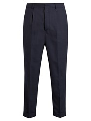 Ami Alexandre Mattiussi High Waisted Turn Up Cropped Wool Trousers Navy
