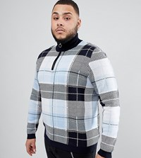 Asos Design Plus Knitted Turtle Neck Check Jumper With Zip In Blue Multi