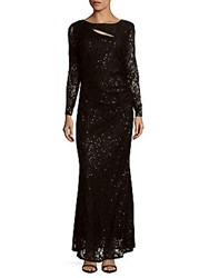Marina Long Sleeve Sequined Lace Gown Rose
