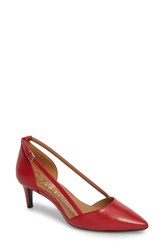Calvin Klein Pashka Strappy Open Sided Pump Crimson Red Leather