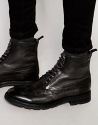 Base London Valiant Lace Up Leather Boots Grey