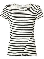 Pam And Gela Striped T Shirt Women Cotton Polyester M White